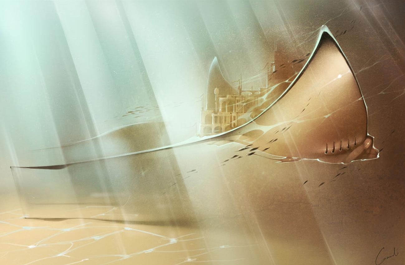 sting ray with city on back by Alexandra Khitrova