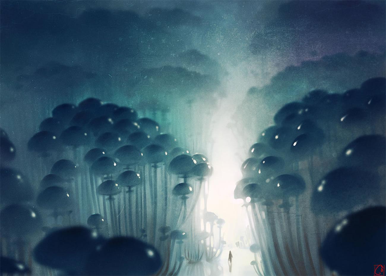 mushrooms and blue sky, digital art by Alexandra Khitrova