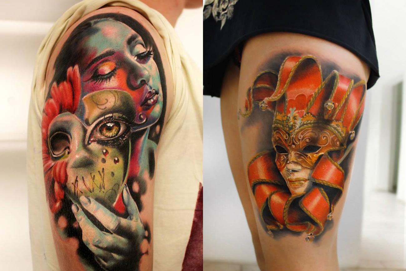 carnival mask tattoos by moni marino