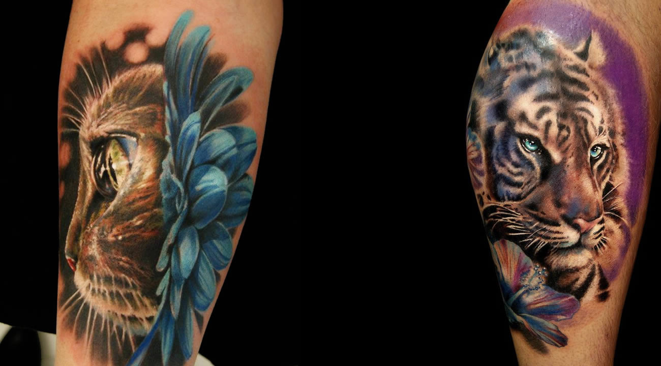 cat flower and tiger tattoos by tattoos by moni marino