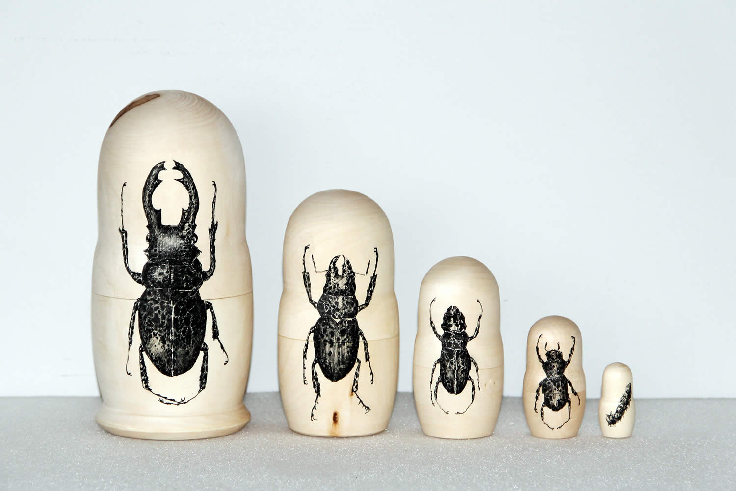 Insect Drawings on Russian Nesting Dolls