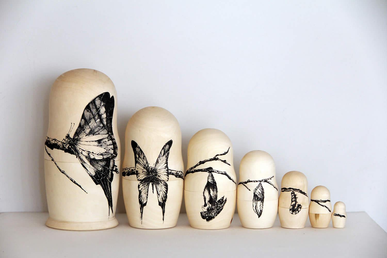 butterfly birth, matryoshka wood by raul gutierrez