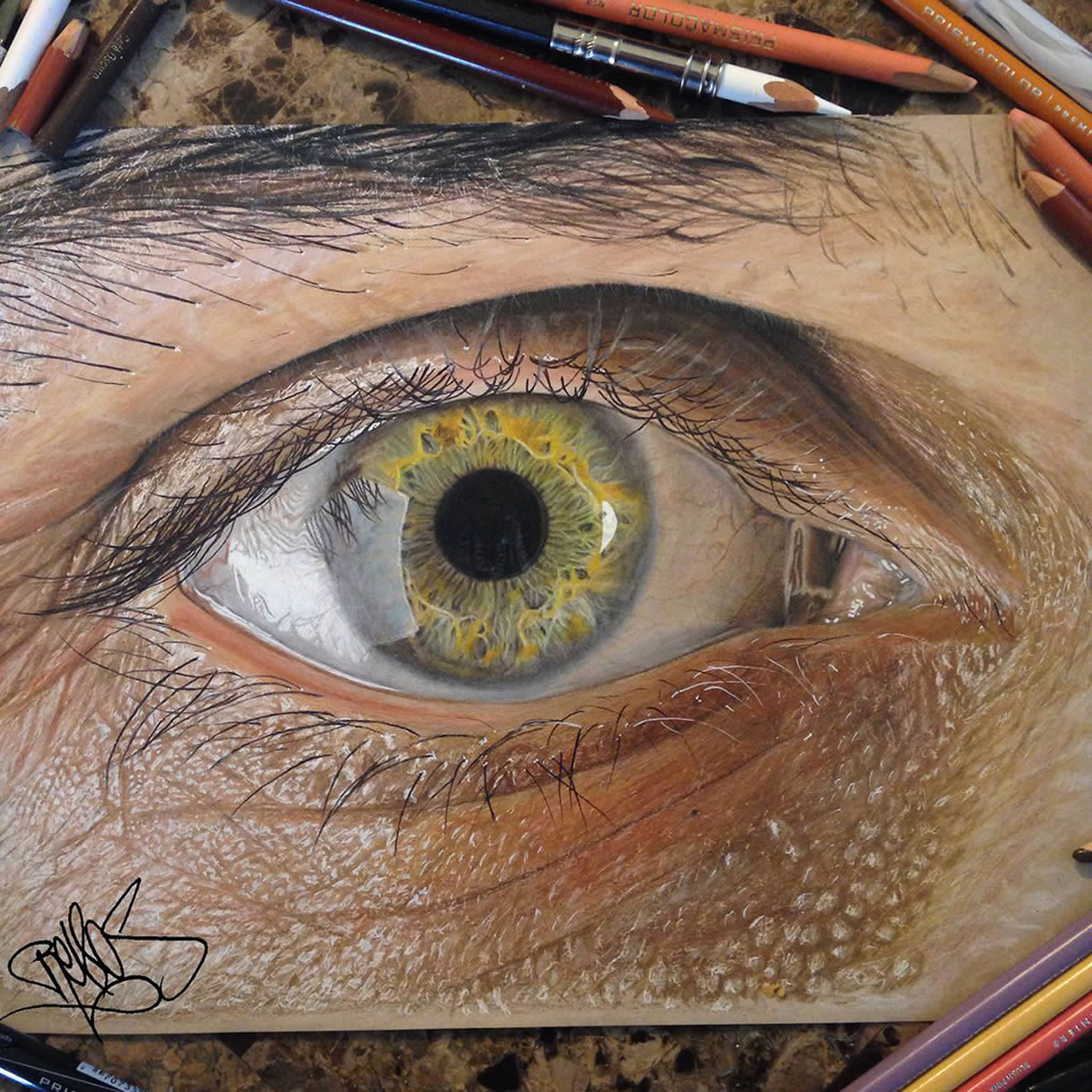 dino tomic's eye, realistic drawing by Redosking