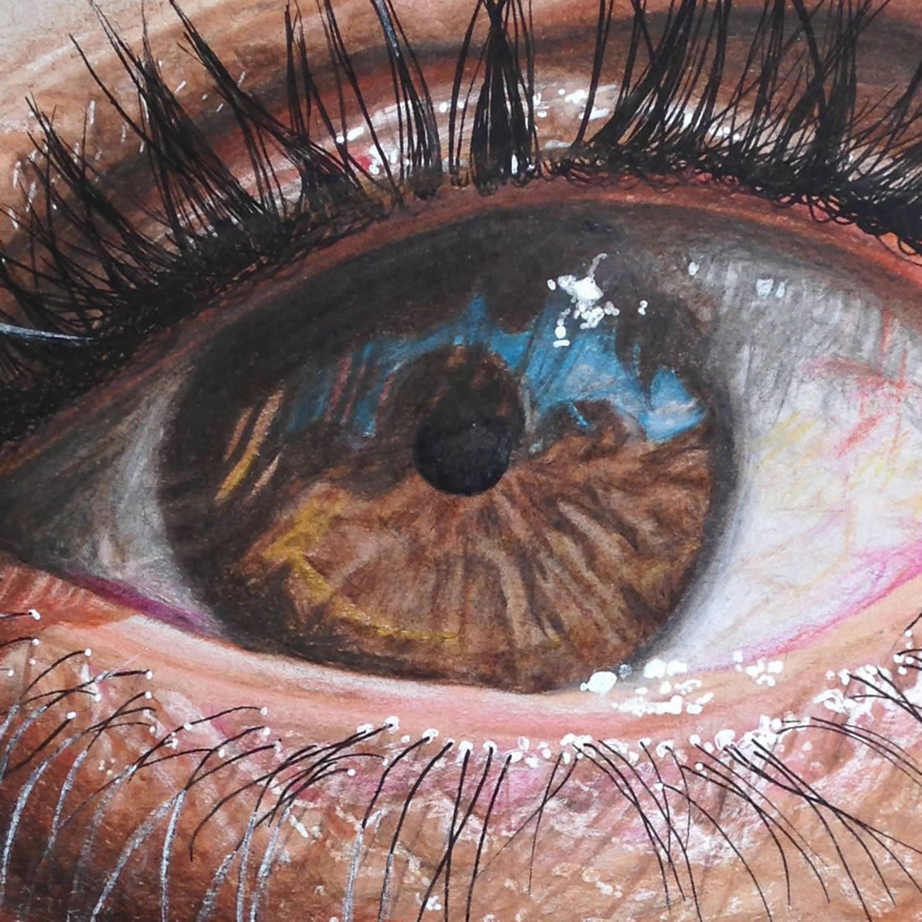 dark brown eye, realistic drawing by Redosking
