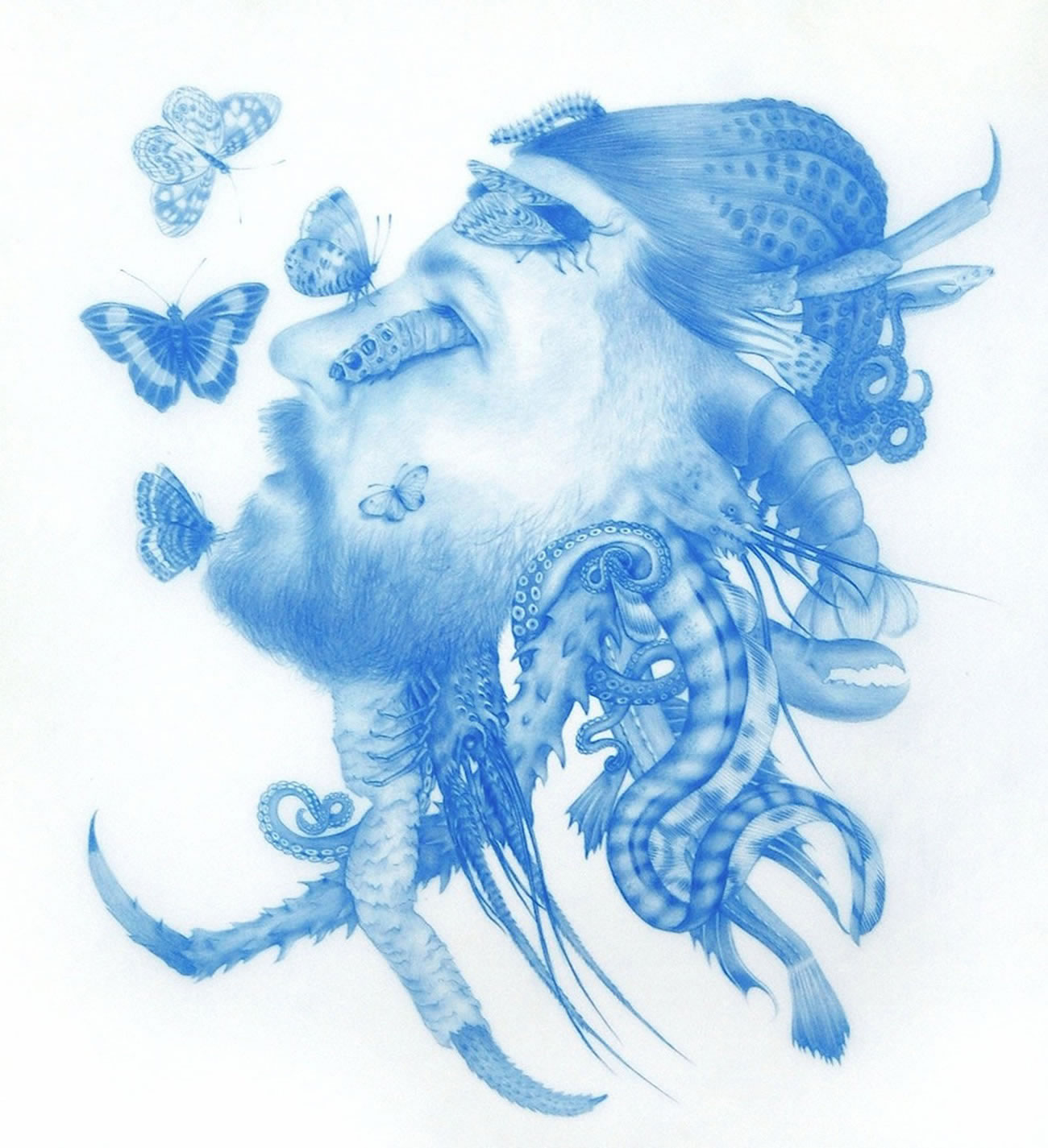 insects on man's face, blue drawing by Zachari Logan