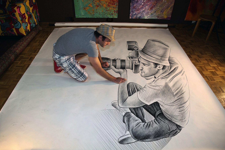 3d camera drawing pencil