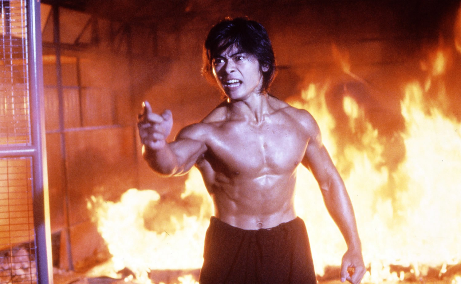 Riki-oh: The Story of Ricky, fire scene with main actor