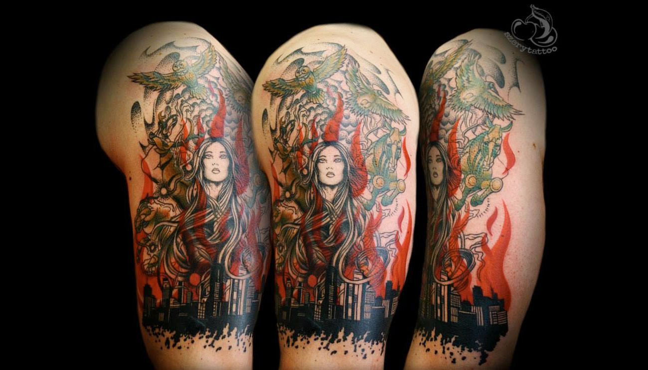 woman tattoo on arm by Aldona Szery