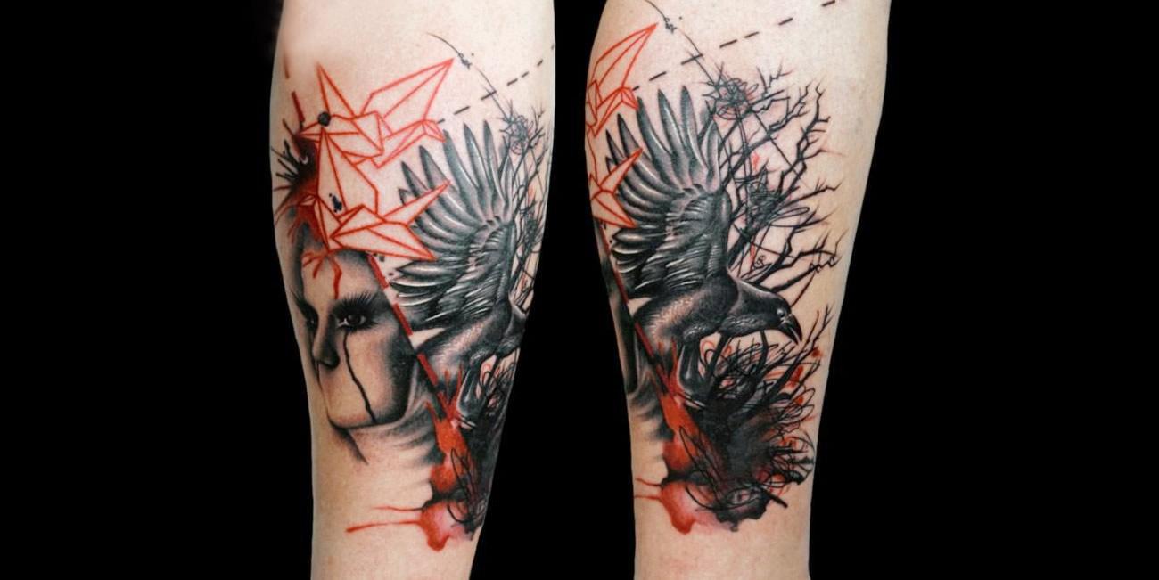 bird and face tattoo, origami bird, by Aldona Szery