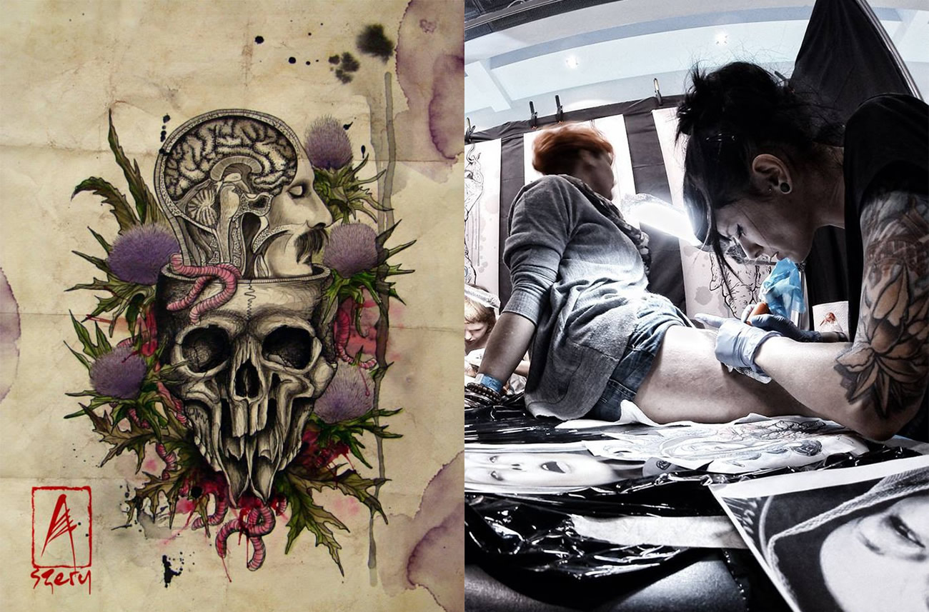 mixed-media art and Aldona Szery tattooing a client