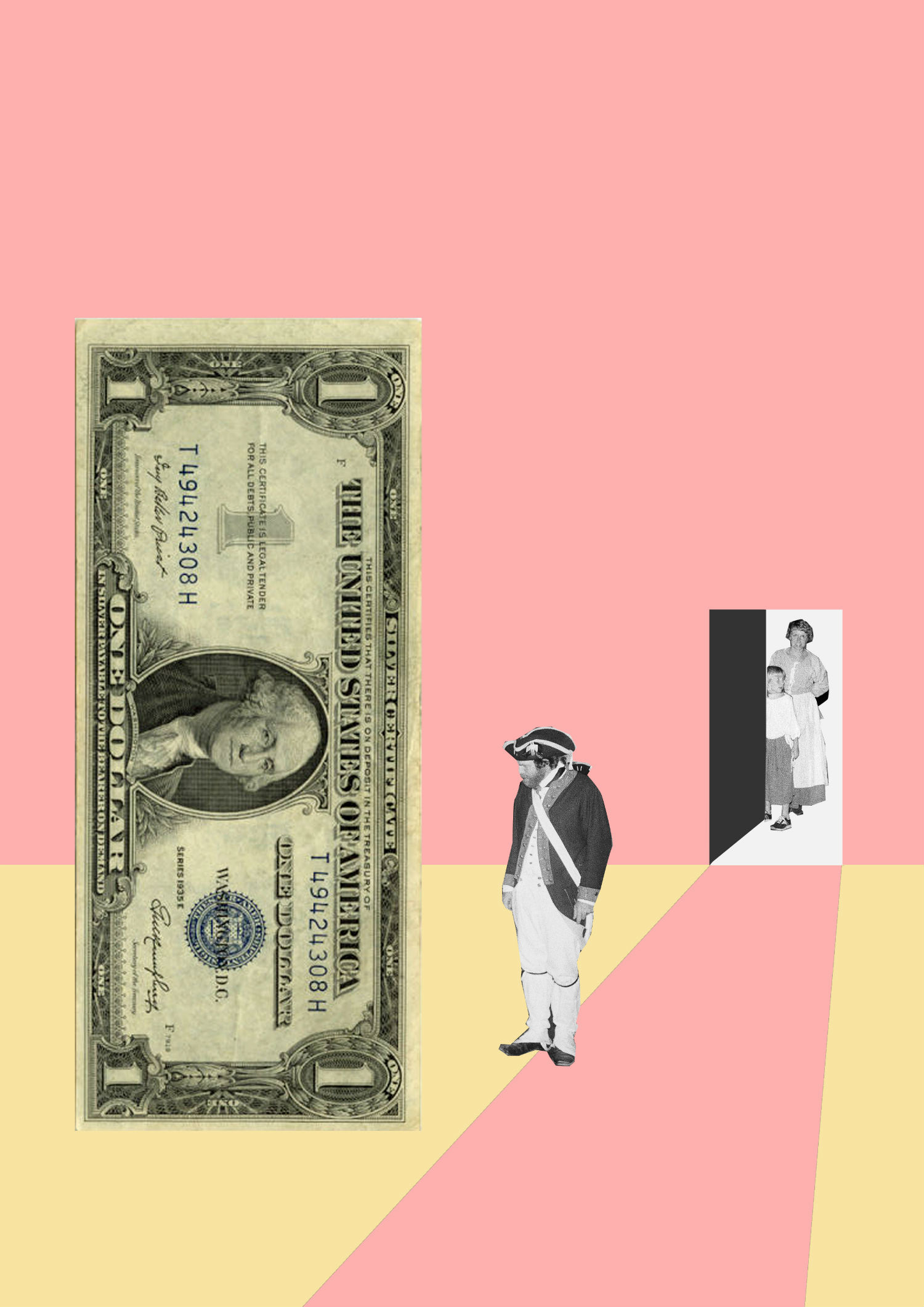 dollar bill bolin zhang pink collage