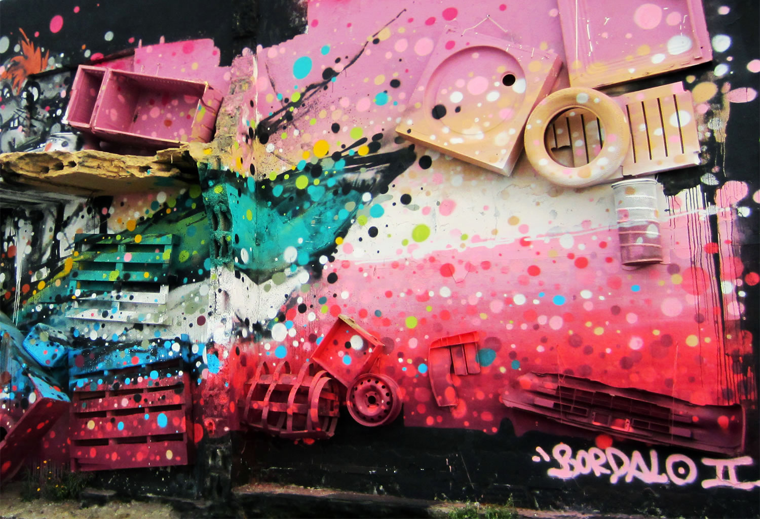 close up of pink and black mural by bordallo II
