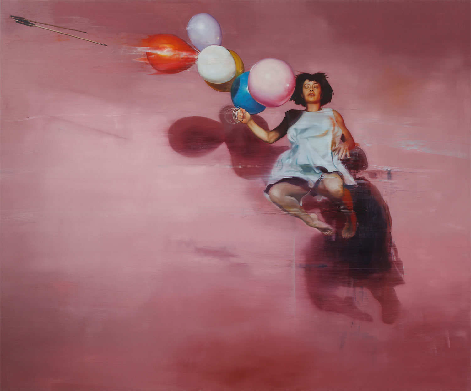 woman jumping up with balloons in hand, oil painting by chloe early
