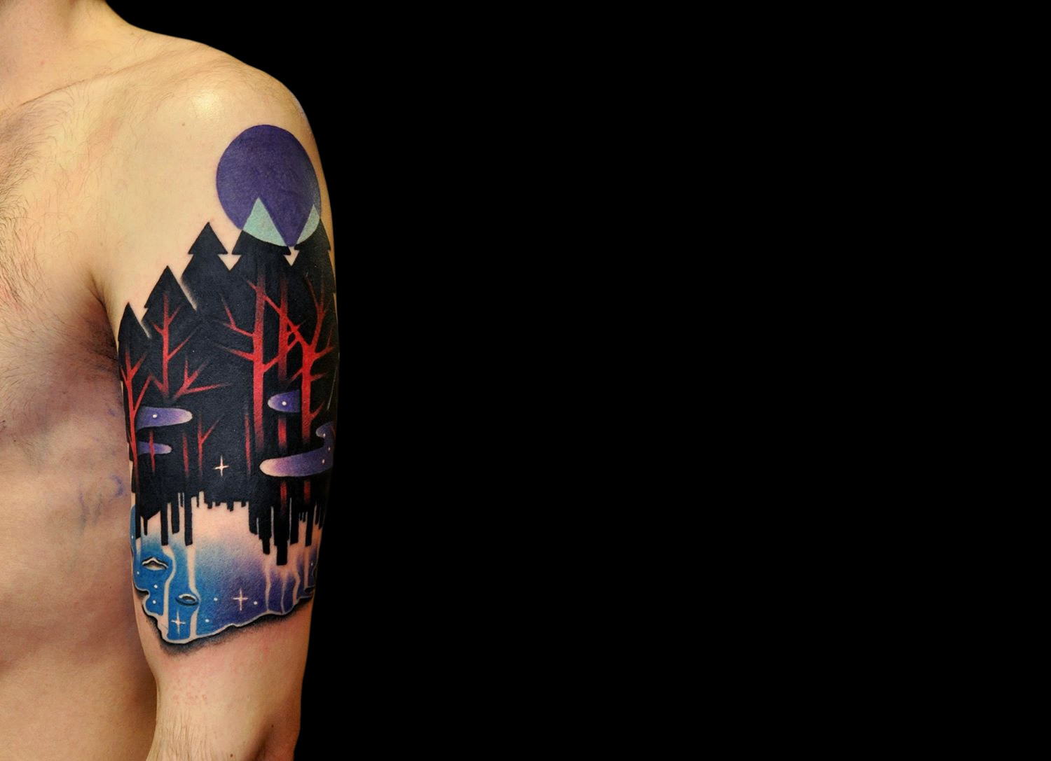Apocalyptic clash tattoo, black trees and purple moon, tattoo by Marcin Aleksander Surowiec