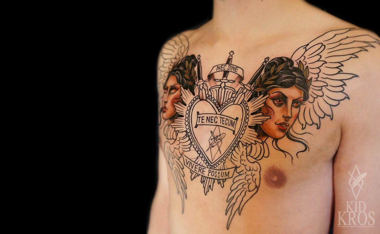 chest tattoo, two women with wings plus heart by kid kros