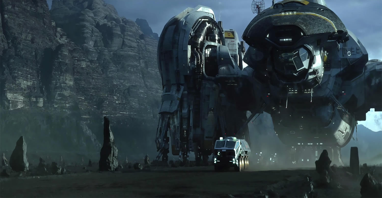spaceship unit on land , spaceship flying in Prometheus movie