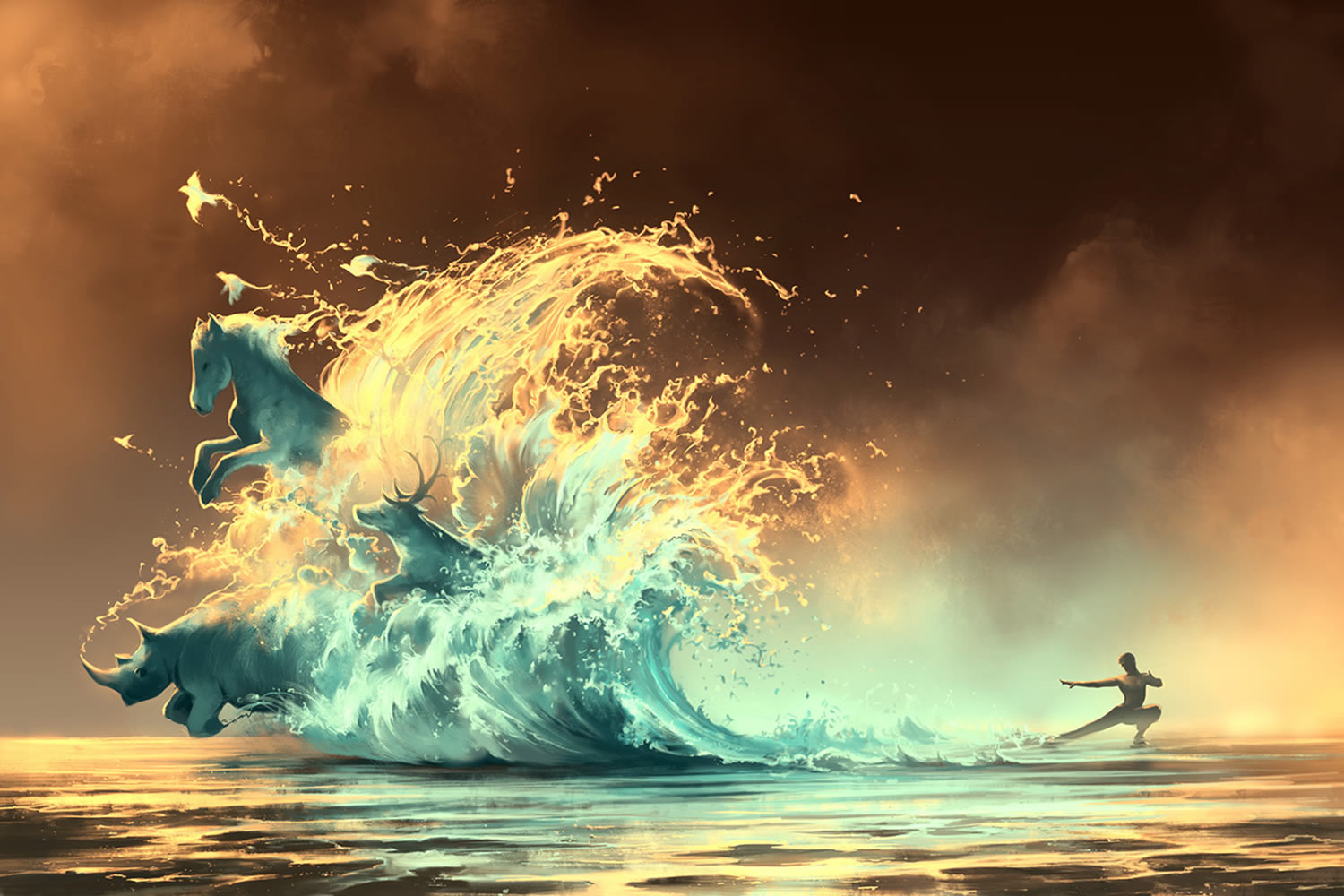 mana tide, digital art by aquasixio
