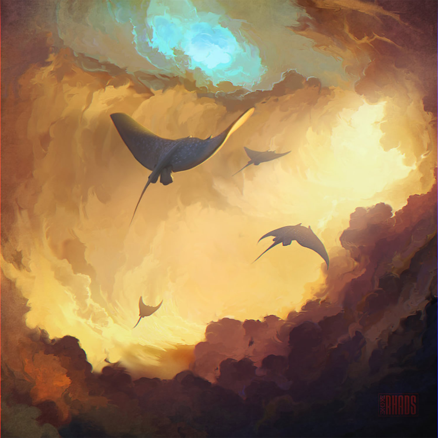 endless journey, digital art by rhads, sting rays flying in clouds