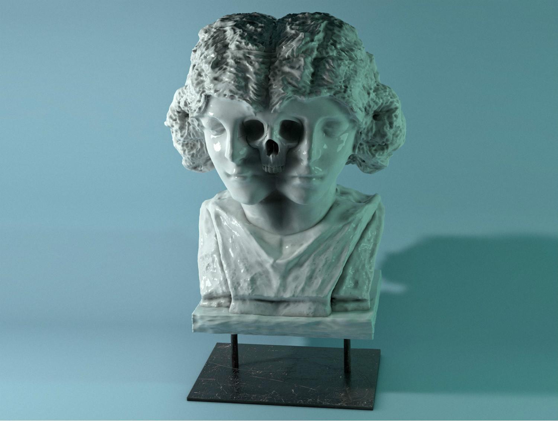hannes hummel sculpture skull blue