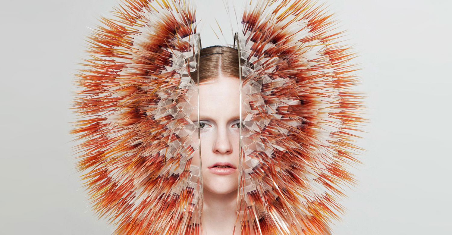 orange and brown head piece by maiko takedo