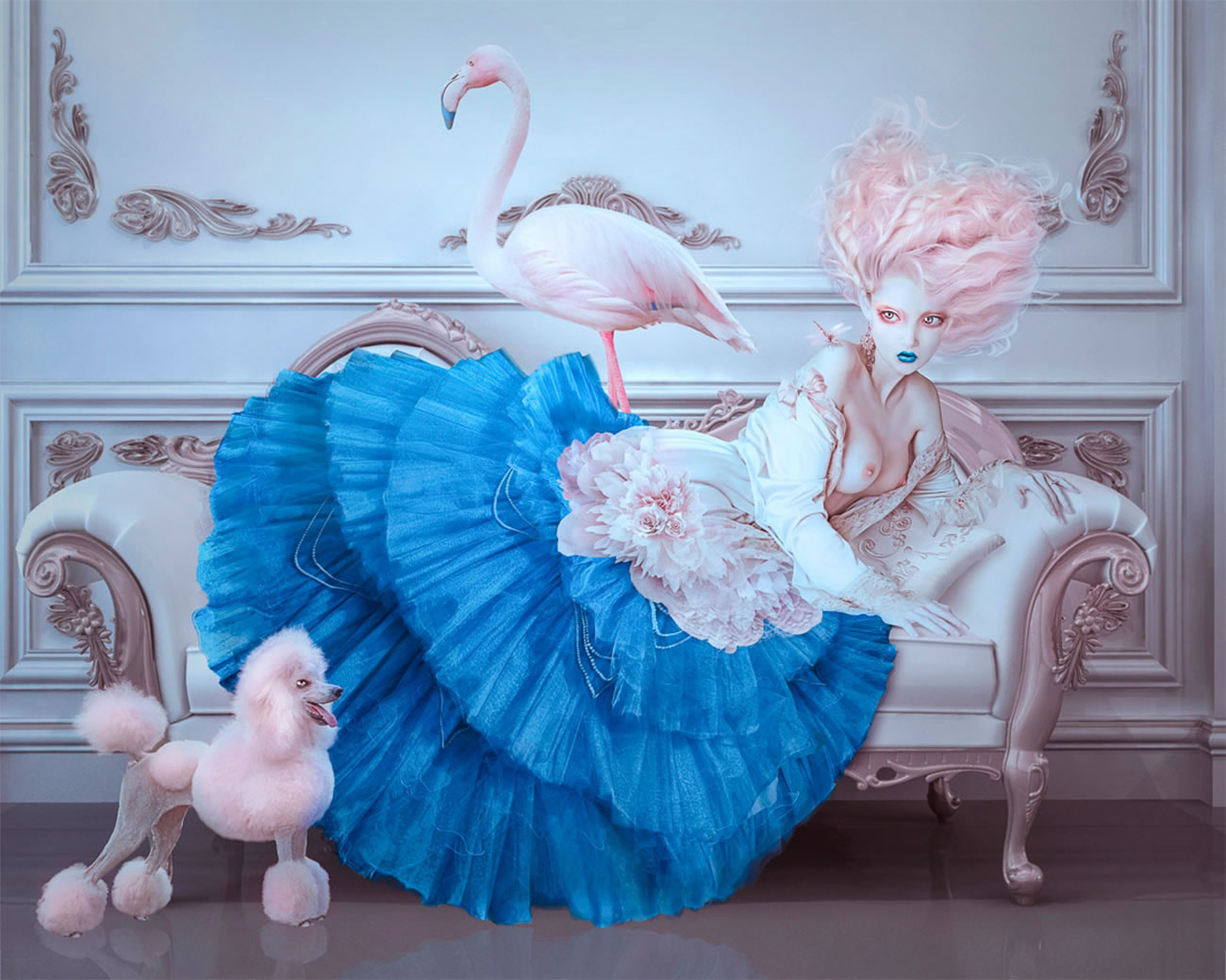 pink poodle and flamingo, woman laying on couch by nathalie shau