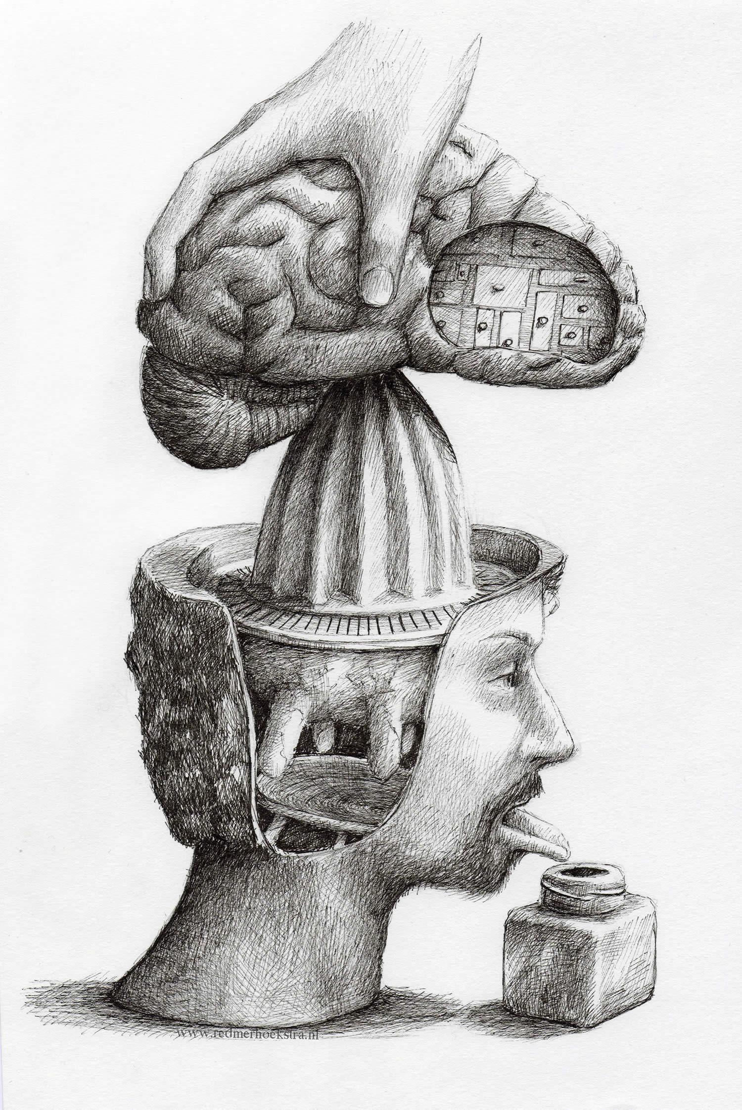 orange juice squeezer for man's brain, by redmer hoekstra