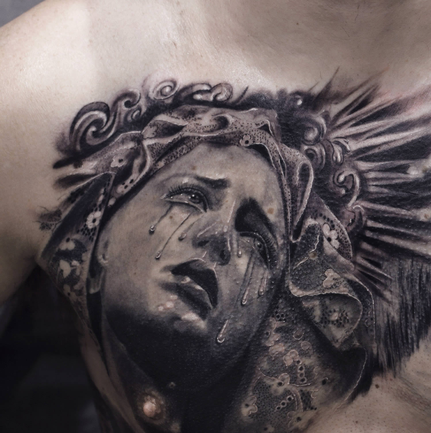 sculpture style portrait tattoo by silvano fiato