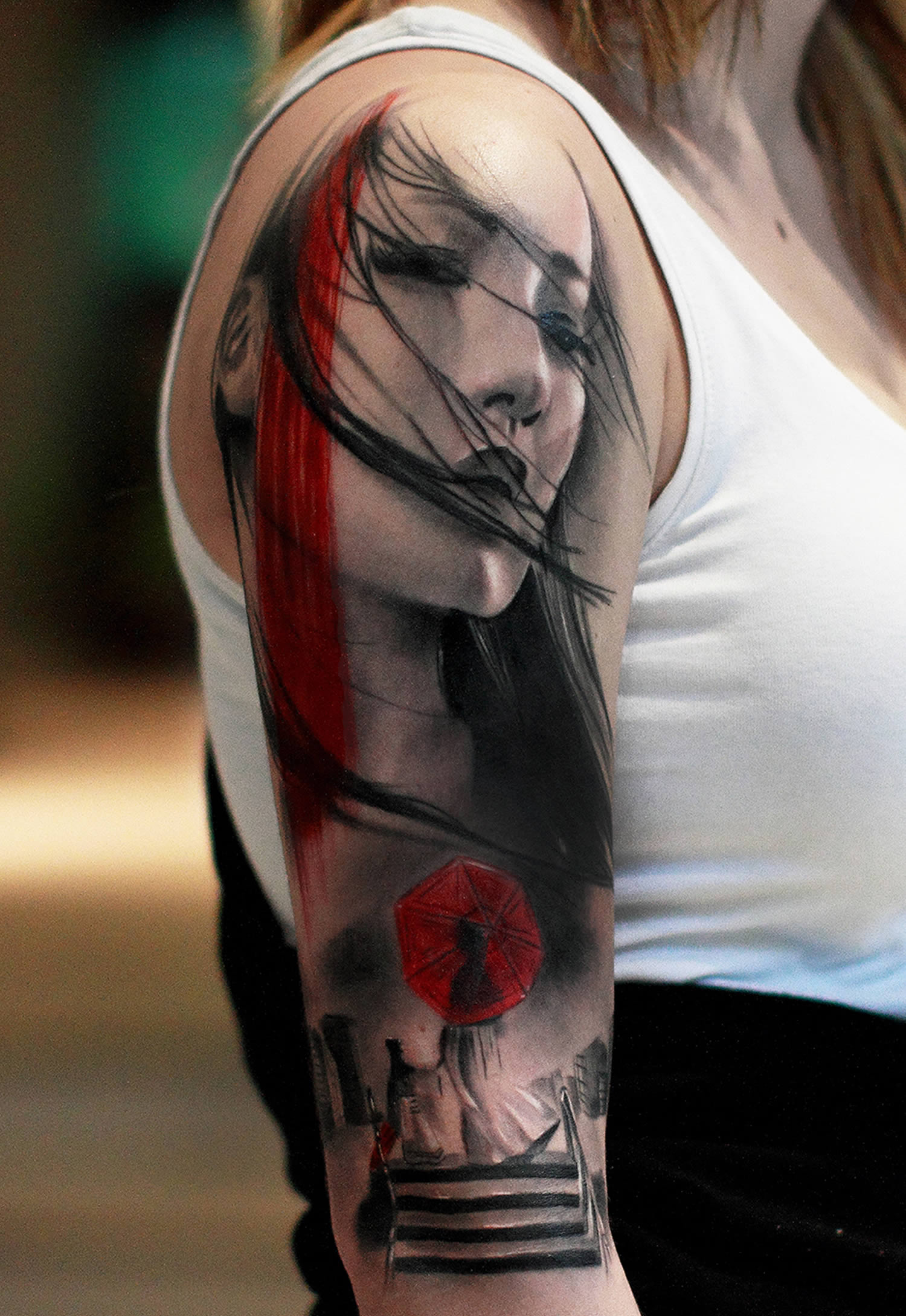asian girl portrait tattoo, black and red by silvano fiato