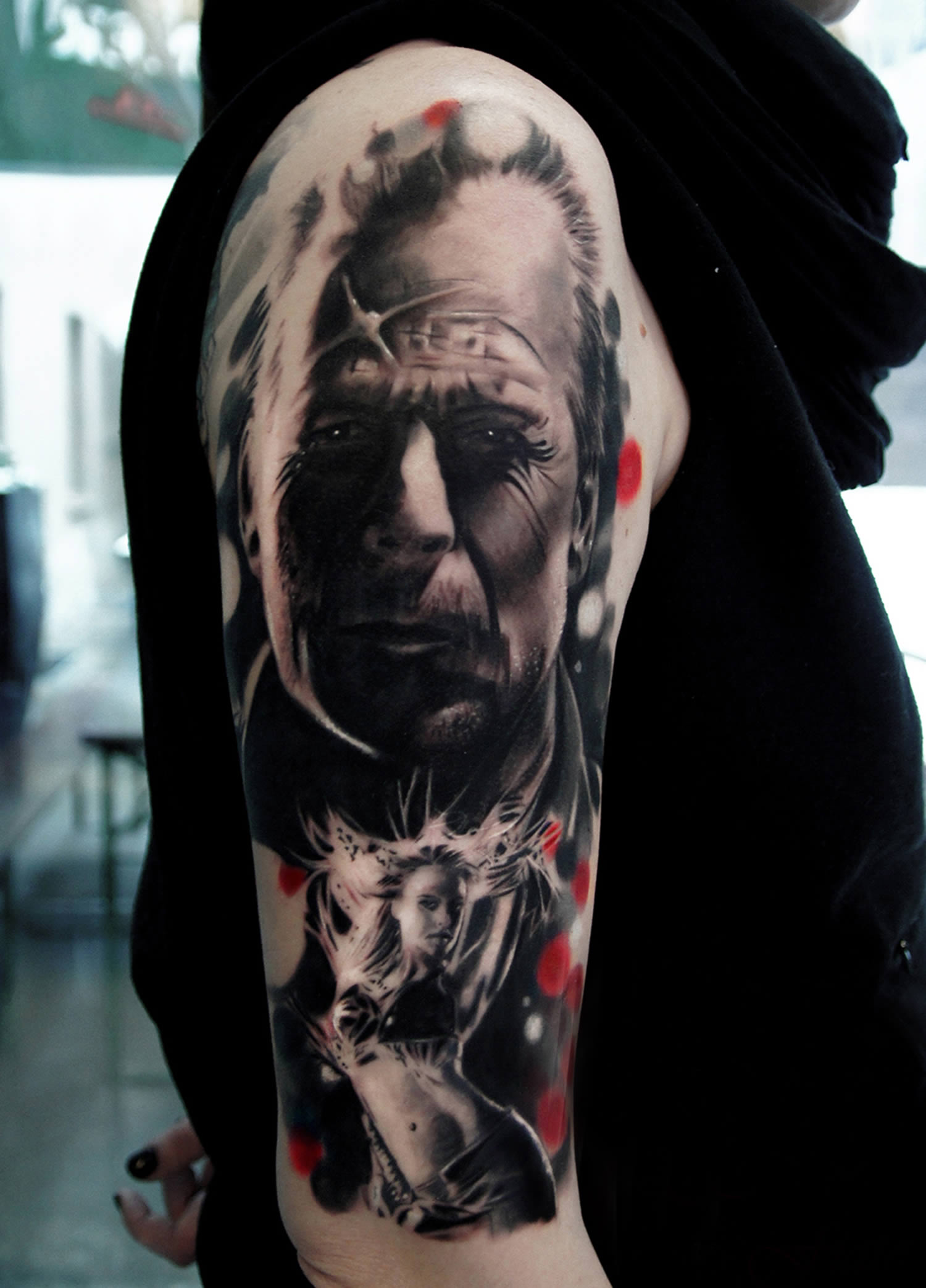 sin city portrait of bruce willis tattoo by silvano fiato