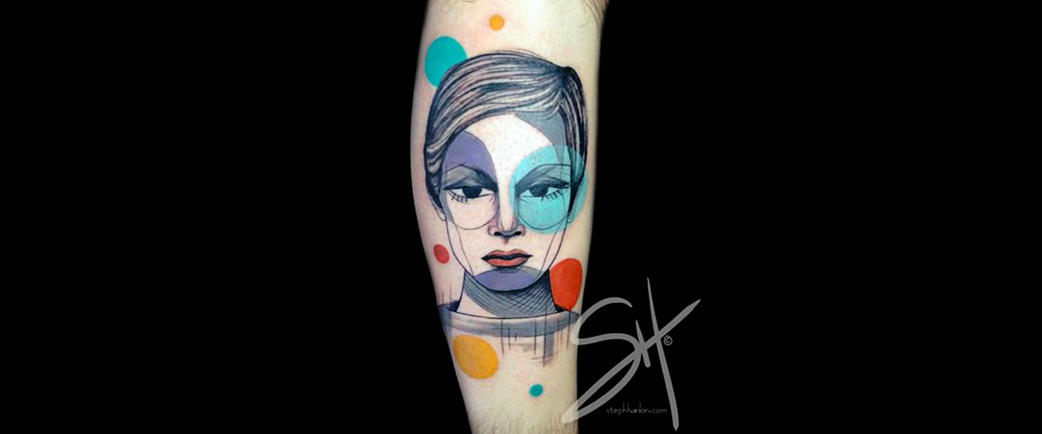 colored circles woman portrait tattoo by steph hanlon
