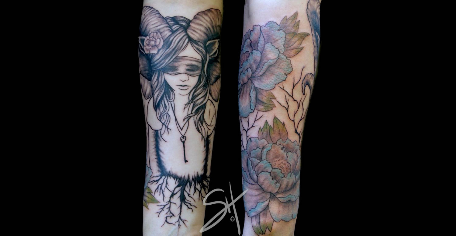 woman with horns and roses tattoo on arm by steph hanlon