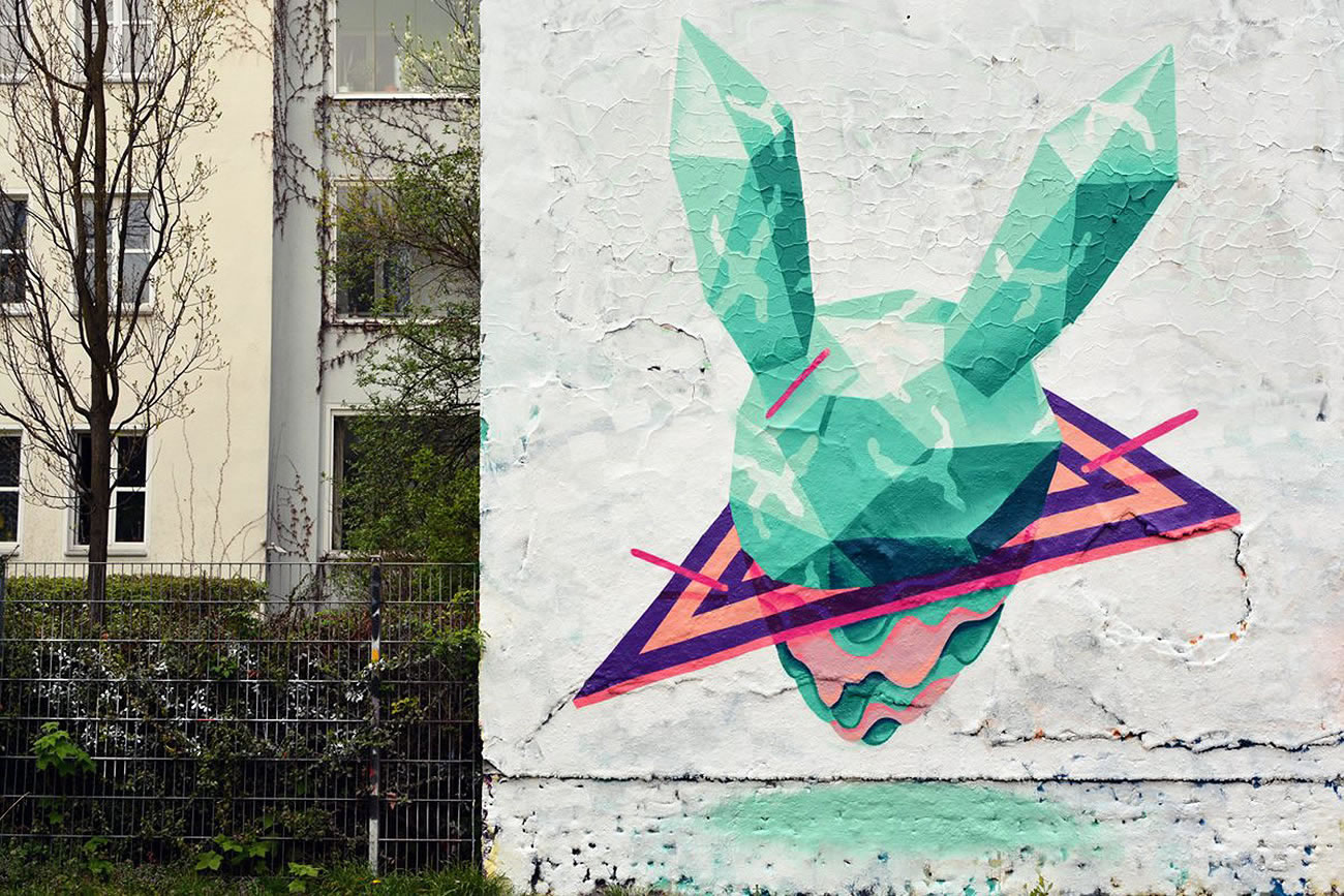 rabbit diamond with purple triangle by vidam, graffiti, mural