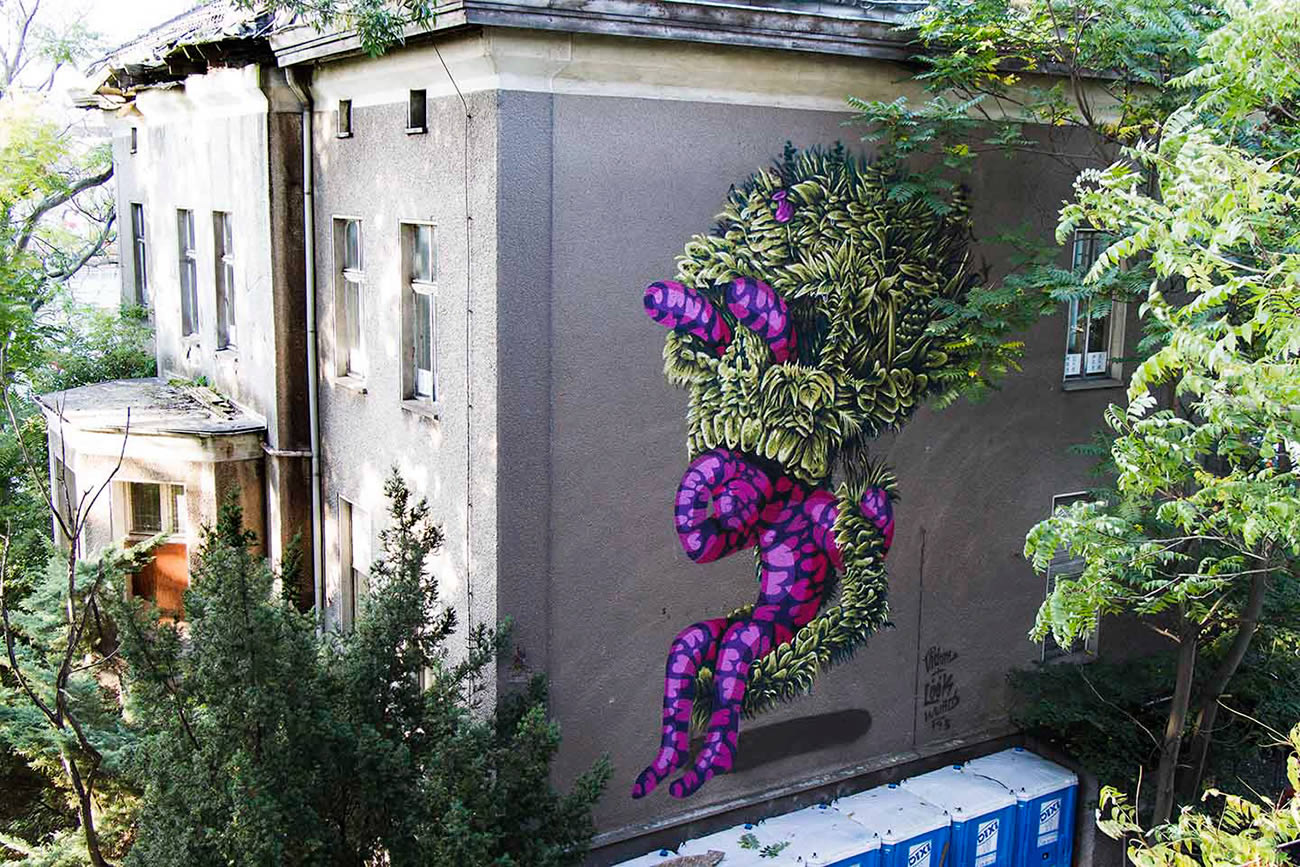 plants and purple rabbiti graffiti by vidam