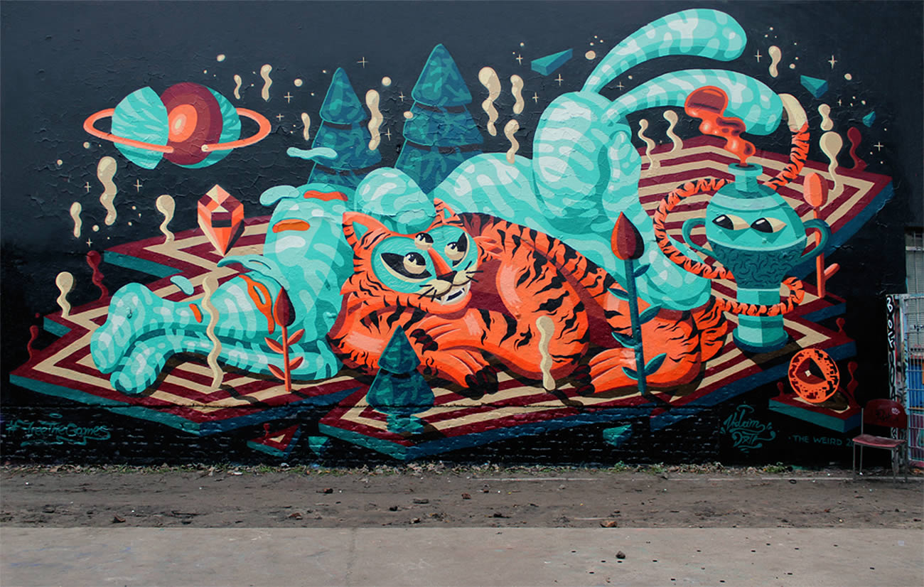 rabbit and tiger graffit by vidam