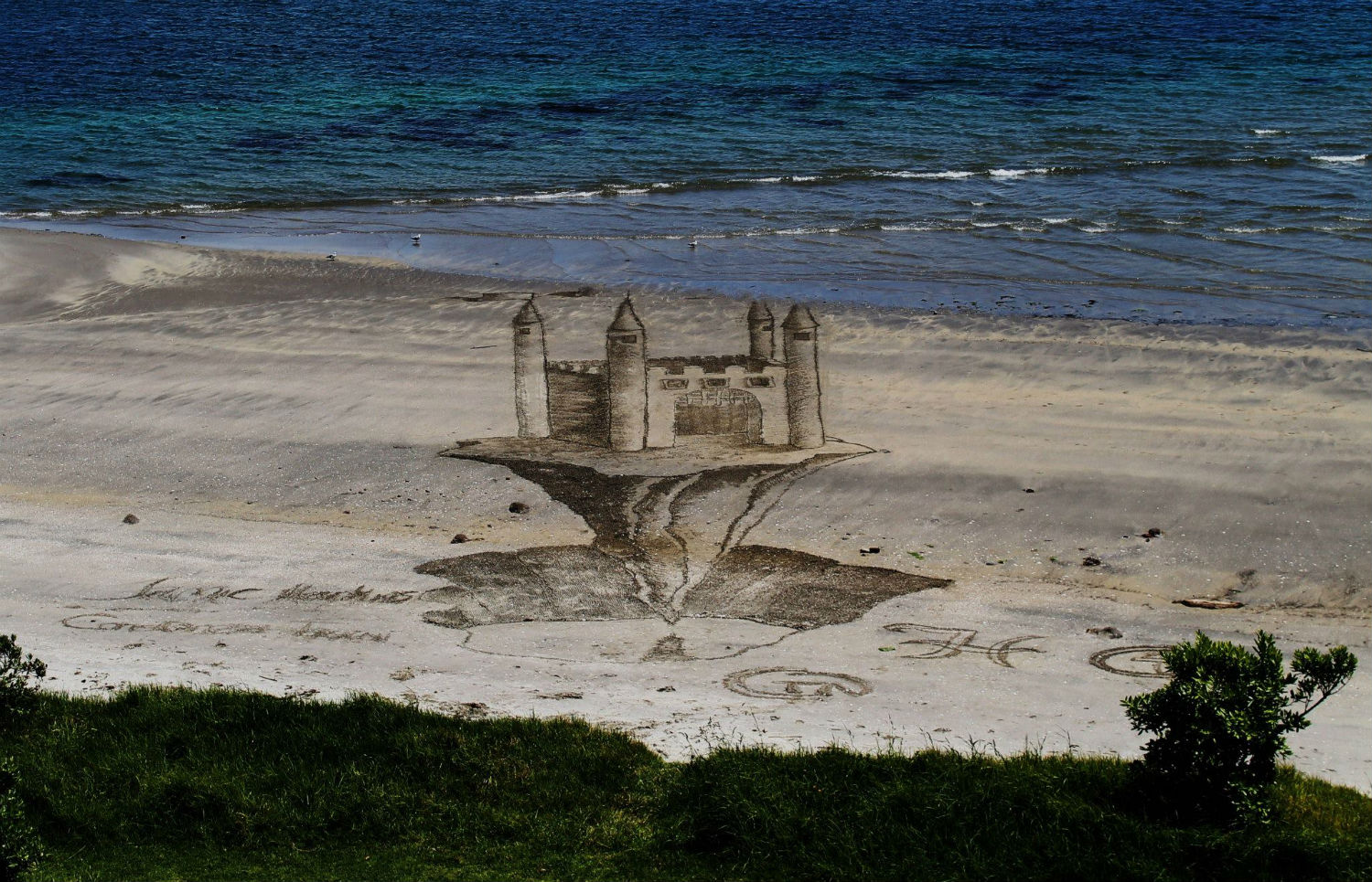 jamie harkens castle sand beach art
