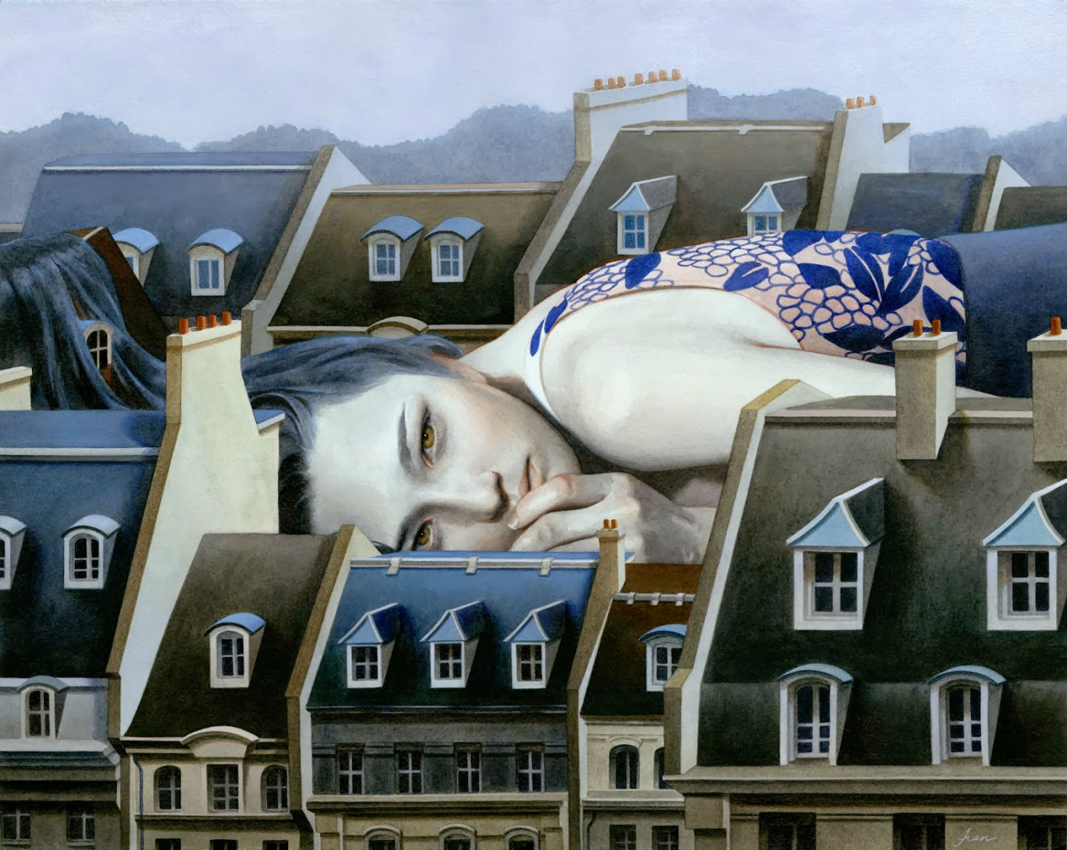 tran nguyen sleep building painting
