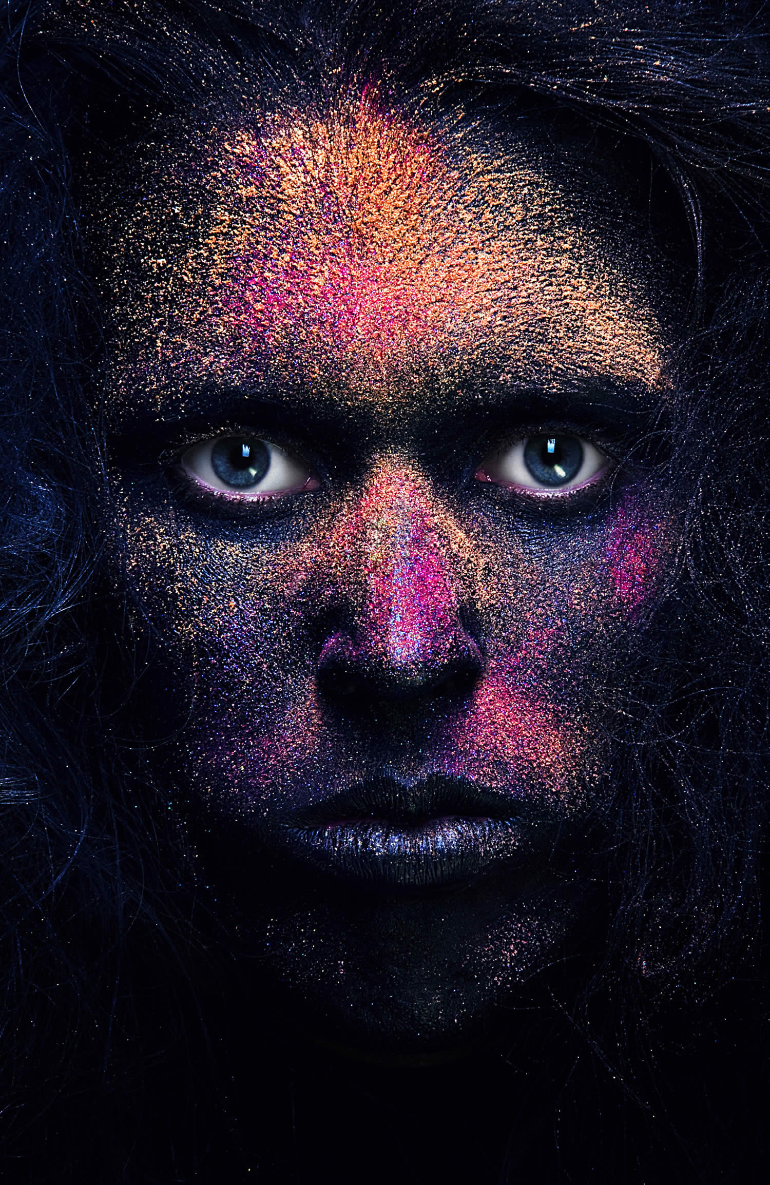 intense portrait with paint powder by Azaryan Veronica