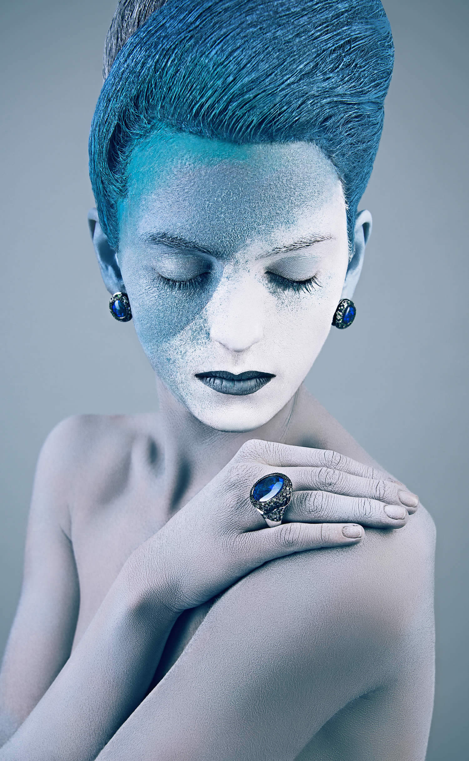 woman with blue and white painted face by Azaryan Veronica