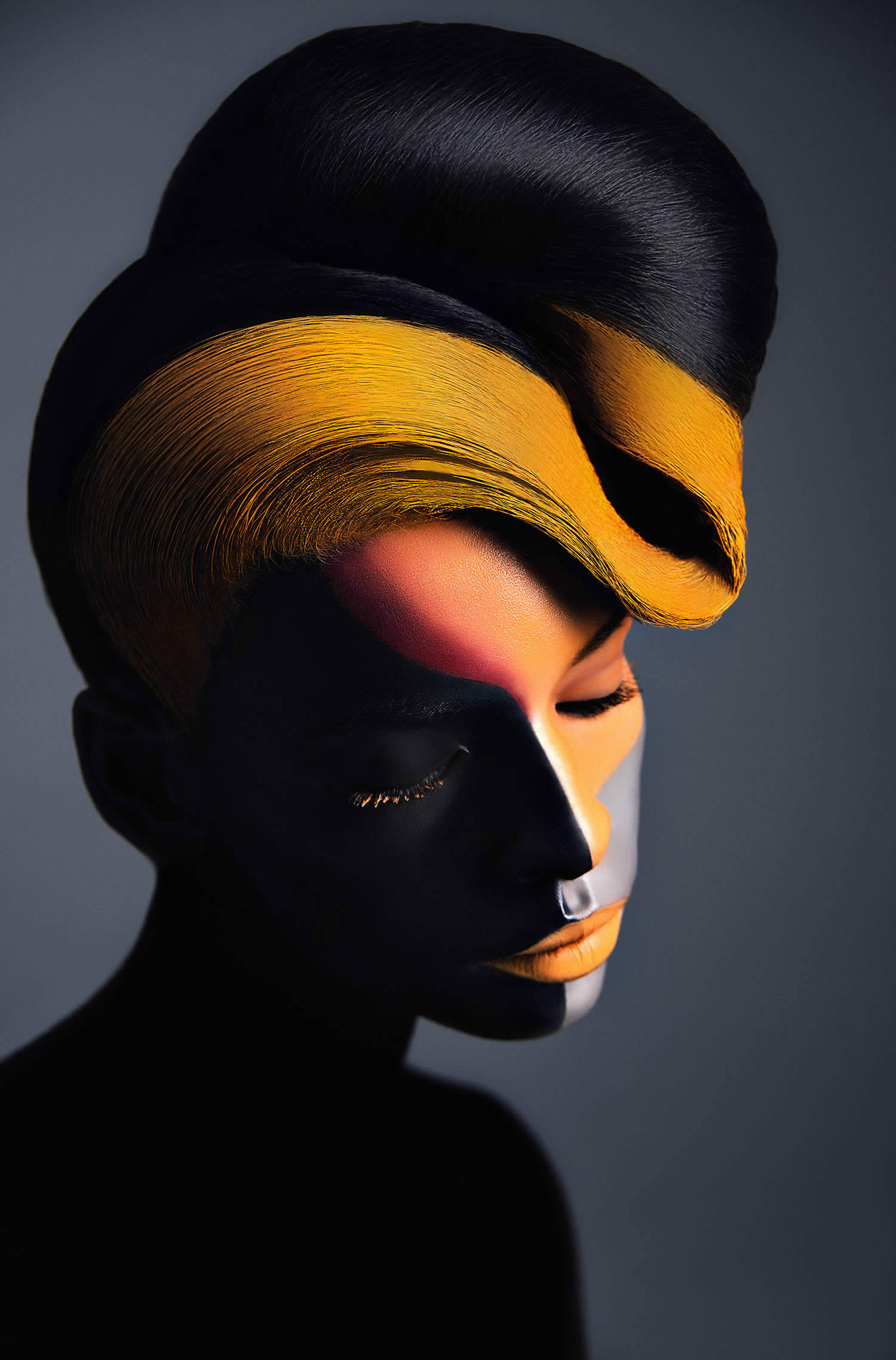 black woman with painted face and yellow curlcue hair by Azaryan Veronica
