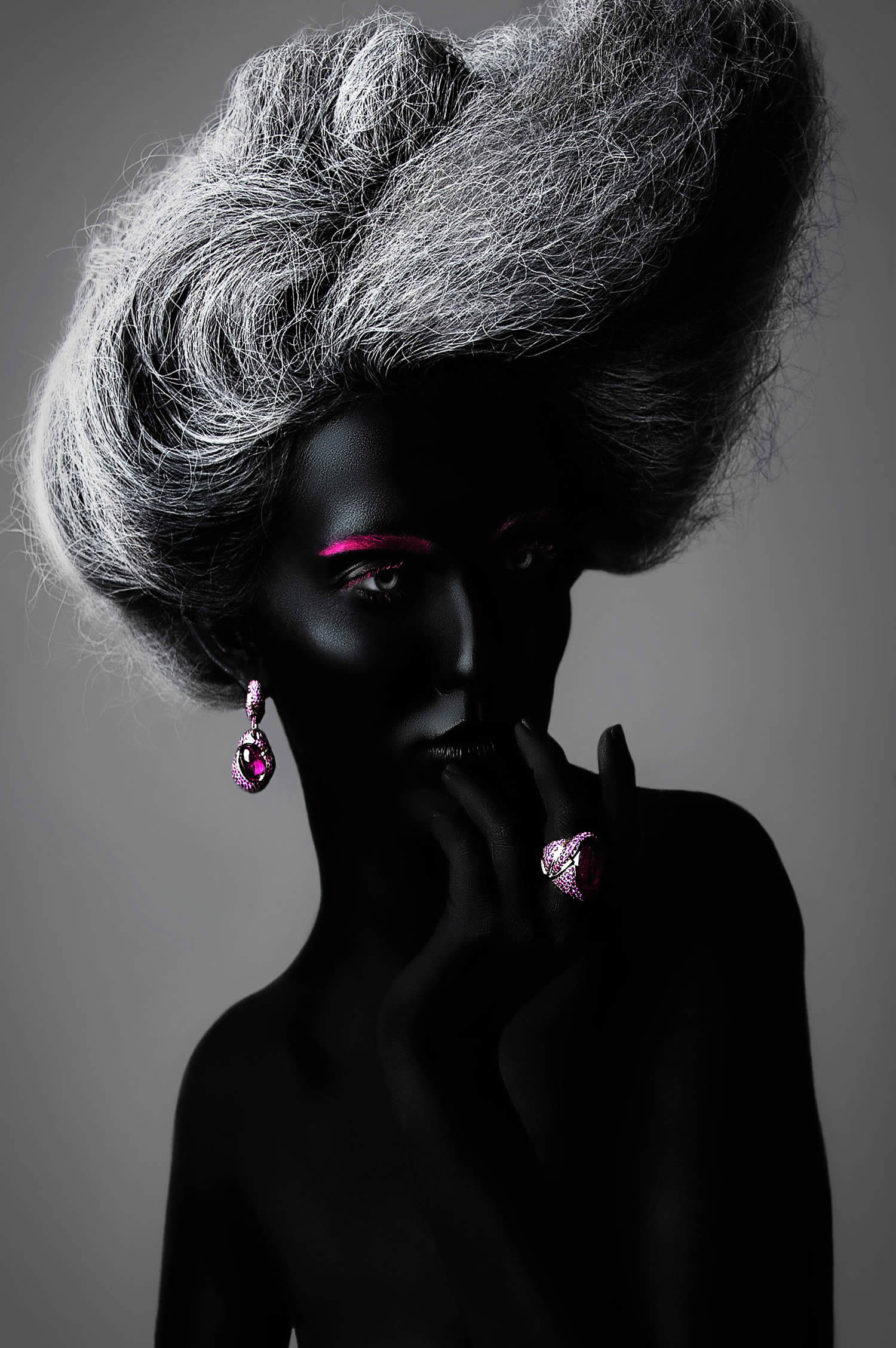 woman painted with black and pink and grey frizzy hair by Azaryan Veronica