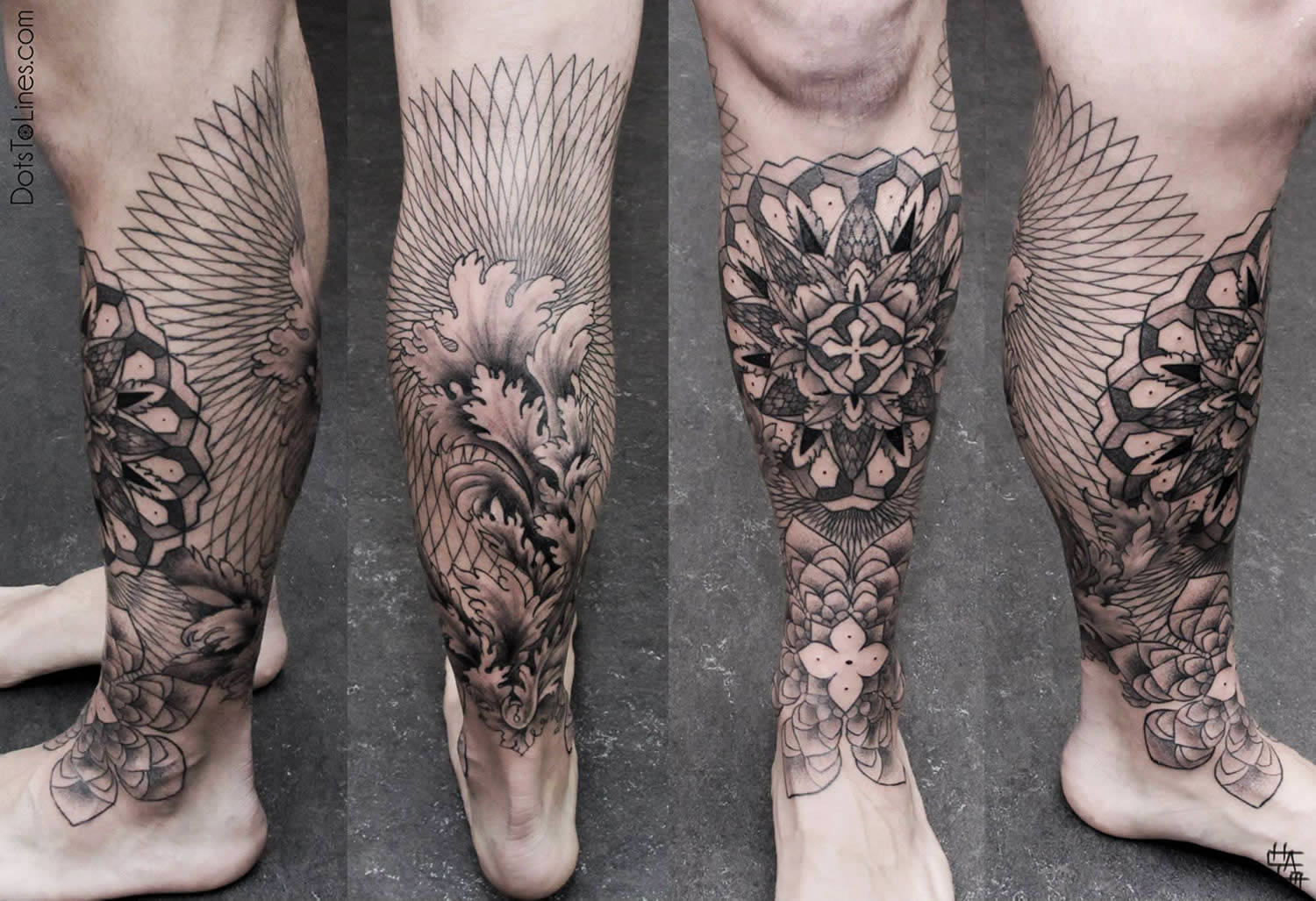 tattoo on leg by chaim machlev, 2014