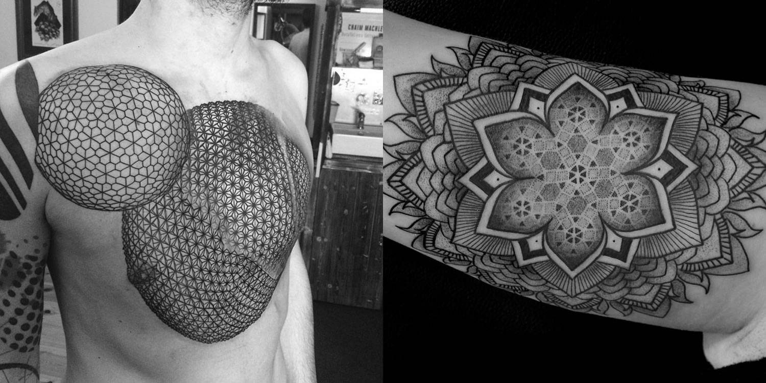 circle patterned tattoo and mandala by chaim machlev