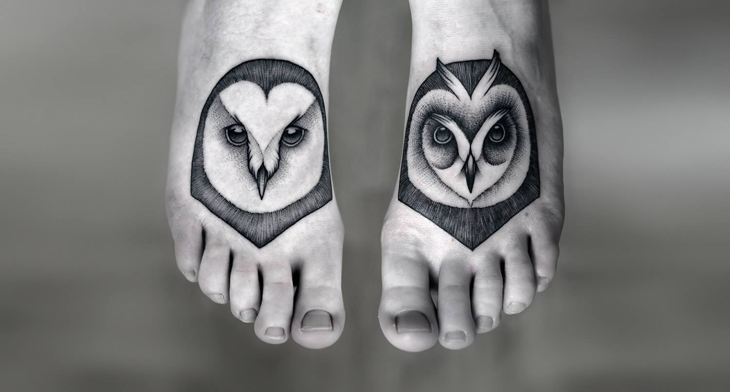cute owl tattoos on feet by kamill czapiga