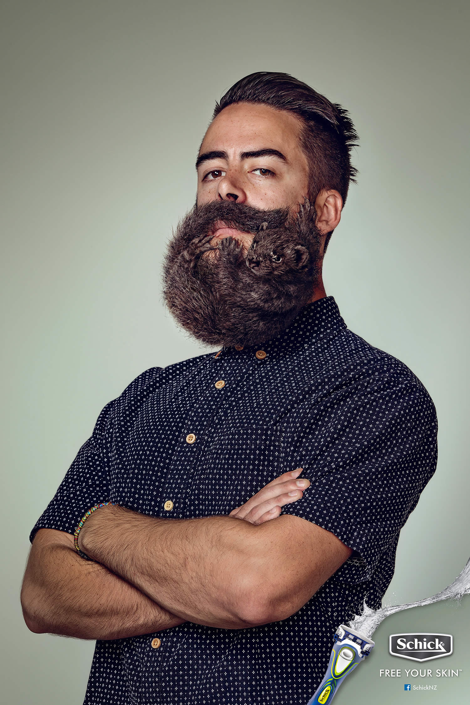 Man with dark brown squirrel beard, Electric Art / Schick NZ. By Sharpe + Associates Inc.