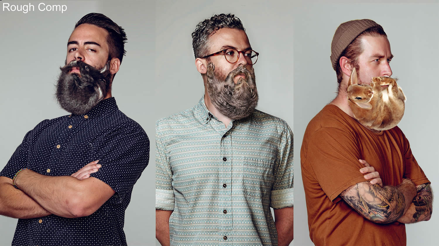 rough comp. three men with beards. Electric Art / Schick NZ. By Sharpe + Associates Inc.