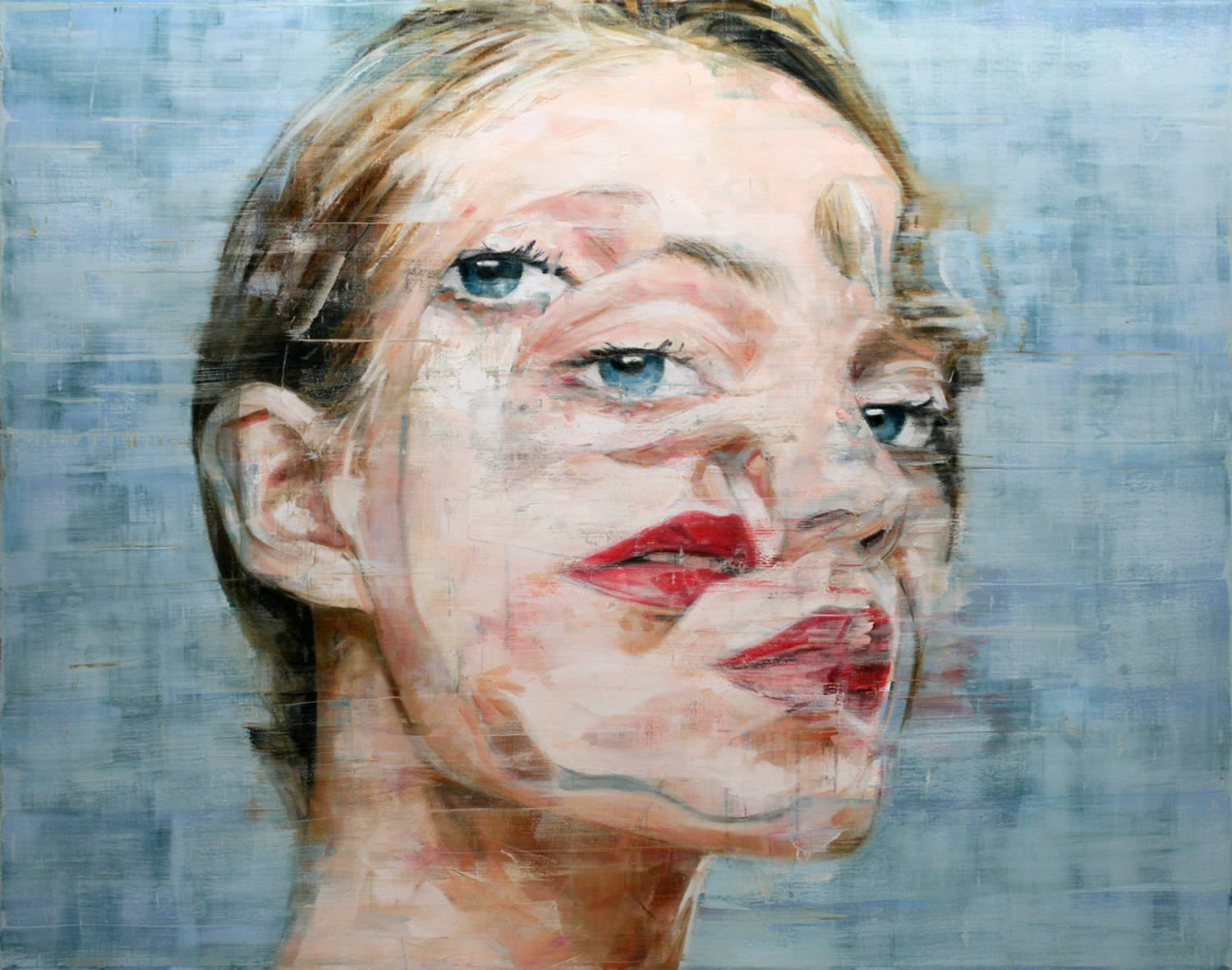 seeing double, a portrait of a blonde woman. Harding Meyer