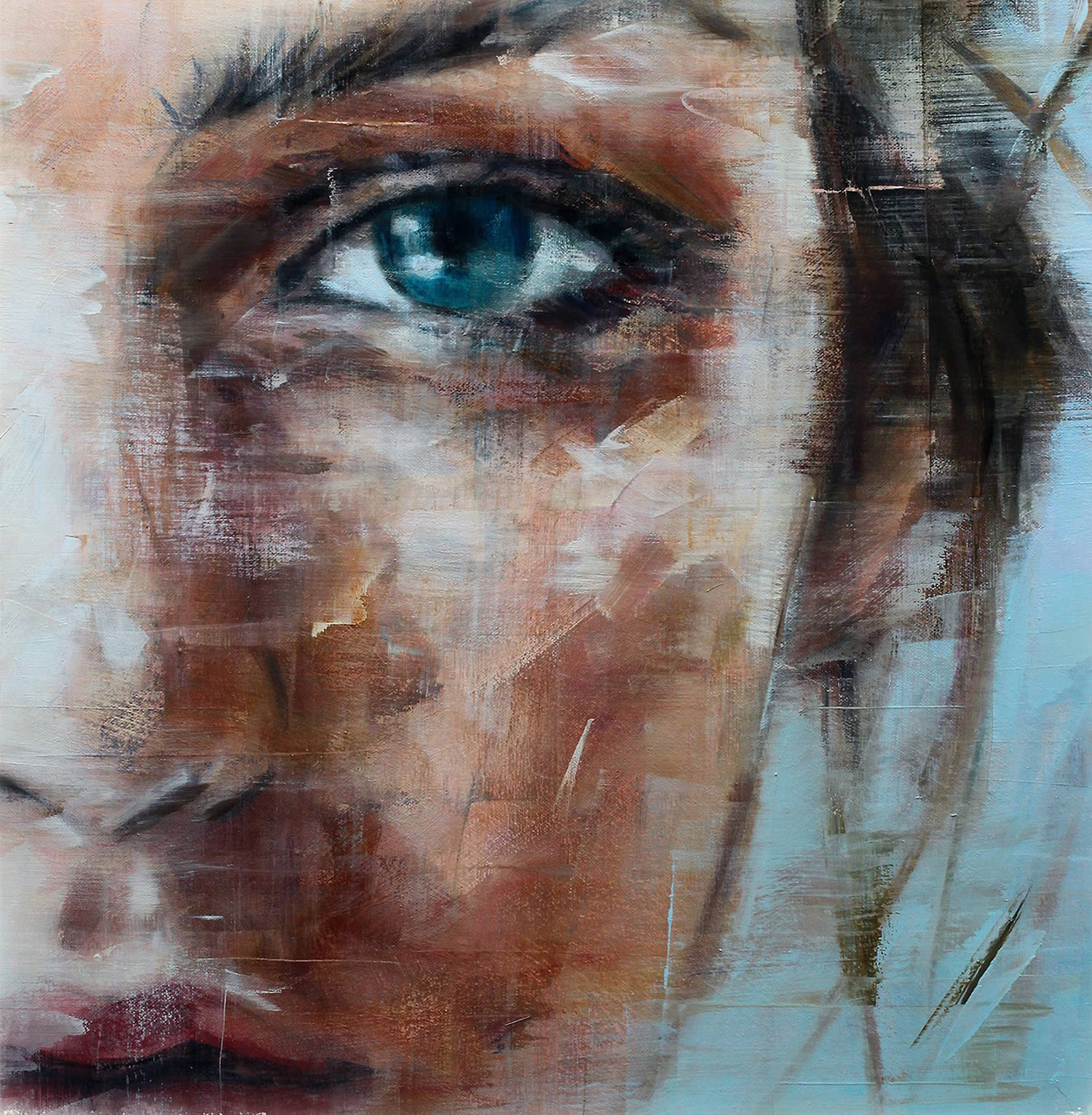 close-up, painting brushstrokes, eye, Harding Meyer