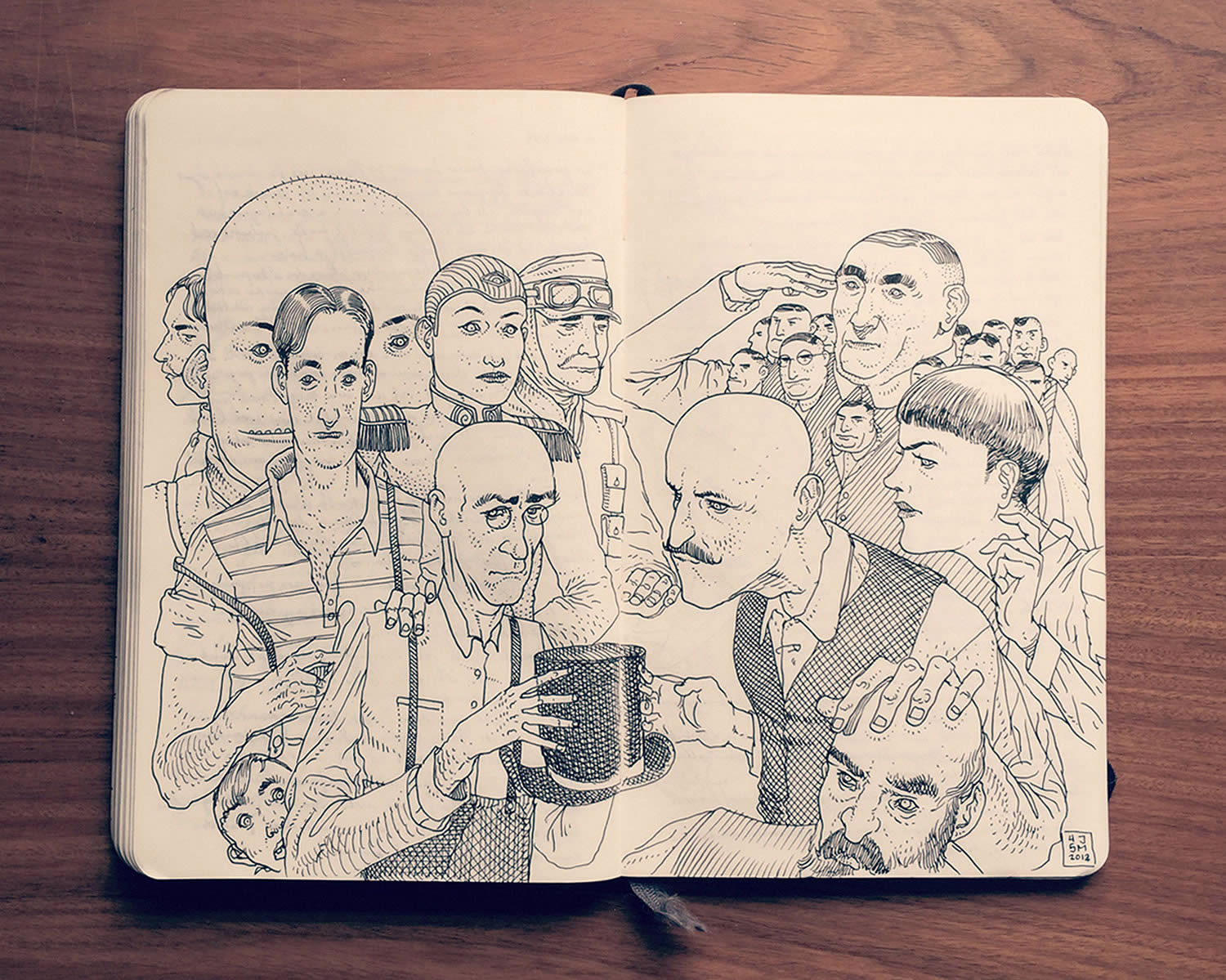 various men heads, sketchbook drawing by Jared Muralt