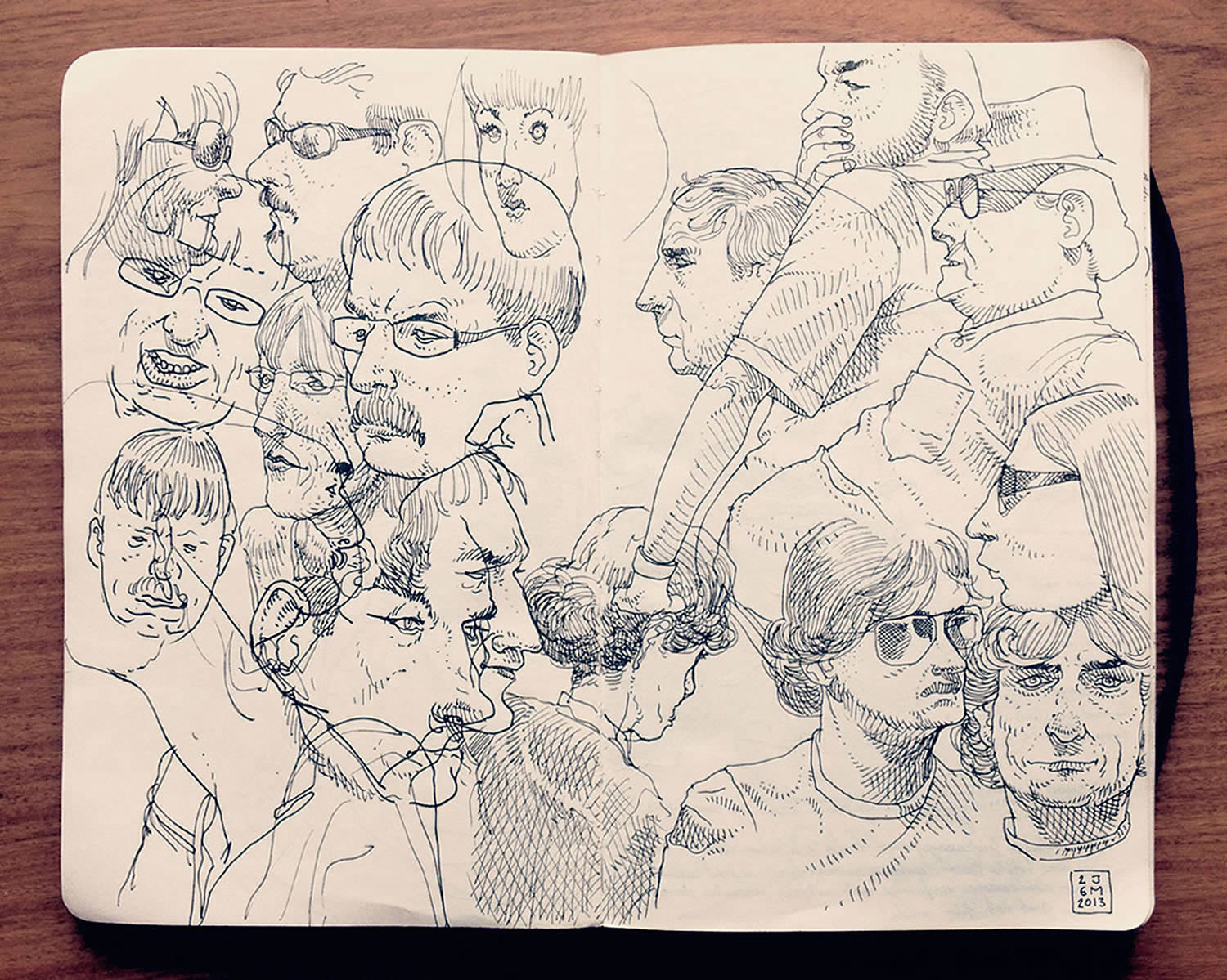 portrait studies, sketchbook drawing by Jared Muralt