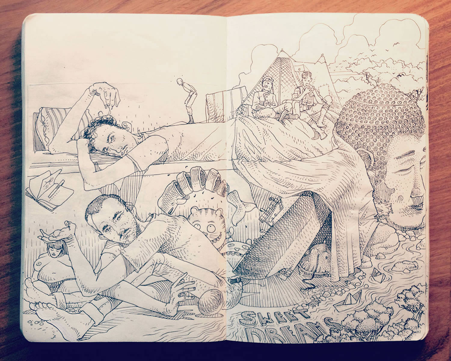 confused guy, lying, sitting, sketchbook drawing by Jared Muralt